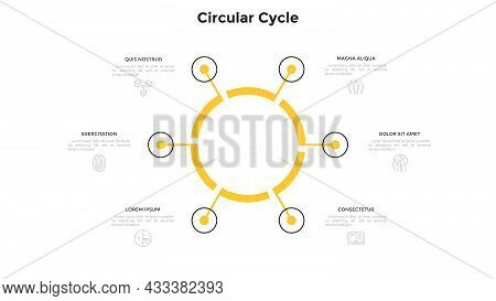 Cyclic Ring-like Chart With 6 Circular Elements. Concept Of Six Stages Of Closed Manufacturing Cycle
