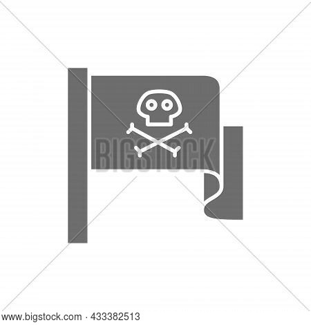 Pirate Flag, Jolly Roger Grey Icon. Isolated On White Background