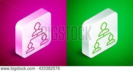 Isometric Line Business Hierarchy Organogram Chart Infographics Icon Isolated On Pink And Green Back