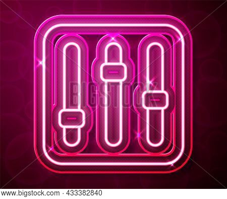 Glowing Neon Line Sound Mixer Controller Icon Isolated On Red Background. Dj Equipment Slider Button