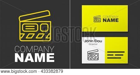 Logotype Line Movie Clapper Icon Isolated On Grey Background. Film Clapper Board. Clapperboard Sign.