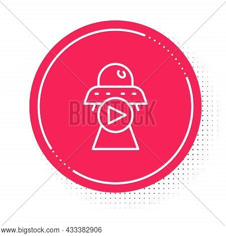 White Line Science Fiction Icon Isolated On White Background. Sci Fi Movies, Popular Futuristic Fant