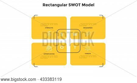 Swot Chart With 4 Rectangular Elements. Concept Of Business Threats, Weaknesses, Strengths, Opportun