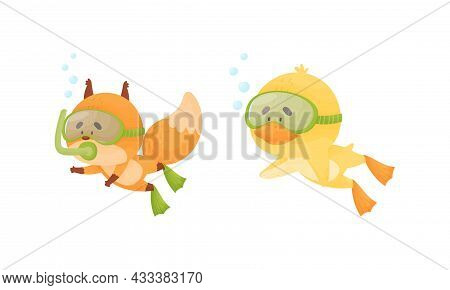 Funny Animal Character Snorkeling And Swimming Underwater In Goggles And Flippers Vector Set