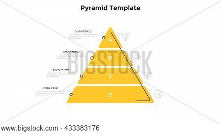 Pyramidal Diagram With Four Layers. Concept Of 4 Steps Of Companys Growth, Development, Progress. Si