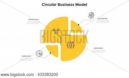 Circular Diagram Divided Into Four Pieces Or Sectors. Concept Of 4 Parts Of Business Strategy Plan.