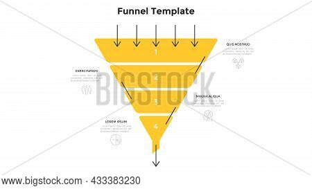 Funnel Chart With Four Numbered Layers Or Levels. Concept Of 4 Stages Of Project Development Process