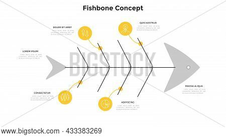Fishbone Diagram With Four Round Elements. Concept Of 4 Steps Of Fish Production Process. Simple Inf