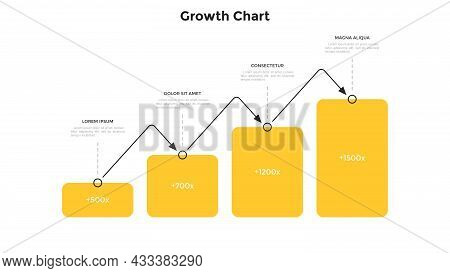 Bar Chart With Four Columns Placed In Horizontal Row And Connected By Arrow. Concept Of 4 Steps Of B
