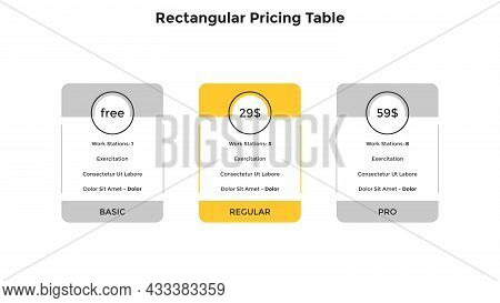 Three Rectangular Pricing Tables Or Subscription Plans For Software Product With List Of Included Fe