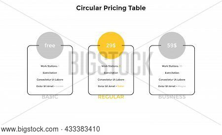 Three Rectangular Pricing Tables Or Account Versions With List Of Characteristics To Compare And Sel