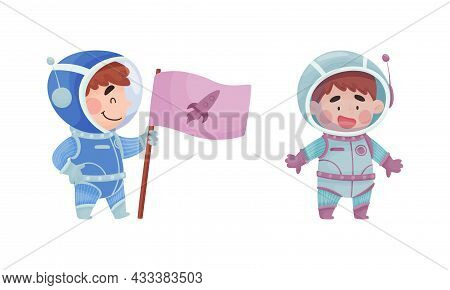 Little Boy Astronaut Wearing Spacesuit Exploring The Moon With Flag Vector Set