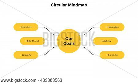 Mind Map With 6 Round Elements Connected To Main Circle. Concept Of Six Business Goals, Aims Or Obje