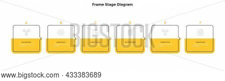 Six Square Frame Elements Placed In Horizontal Row And Connected By Pointers. Concept Of 6 Steps Of
