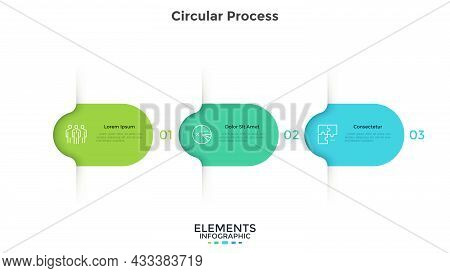 Three Colorful Rounded Elements. Concept Of 3 Successive Steps Of Business Project Development Proce
