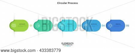 Five Colorful Rounded Elements. Concept Of 5 Successive Steps Of Business Project Development Proces