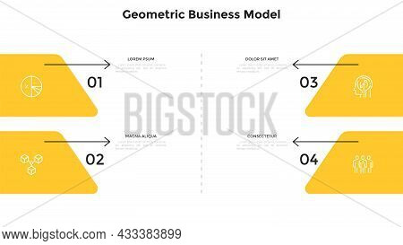 Business Model With Four Numbered Elements And Arrows. Concept Of 4 Options Or Features Of Startup P