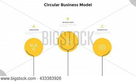 Three Round Elements Placed In Horizontal Row. Concept Of 3 Successive Steps Of Marketing Strategy.