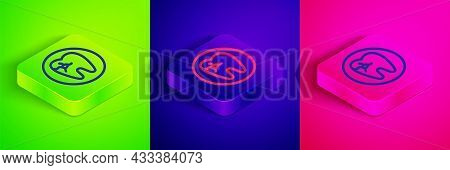 Isometric Line Tooth With Caries Icon Isolated On Green, Blue And Pink Background. Tooth Decay. Squa