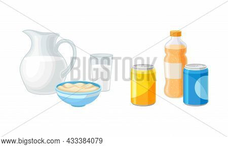 Dairy Product And Sparkling Soda Water In Can And Bottle As Healthy And Harmful Food Vector Set