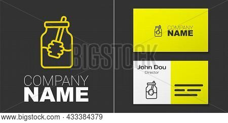 Logotype Line Jar Of Honey And Honey Dipper Stick Icon Isolated On Grey Background. Food Bank. Sweet