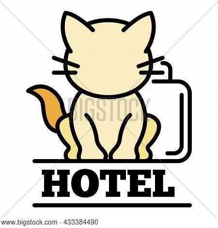 Cat Hotel Logo. Outline Cat Hotel Vector Logo Color Flat Isolated