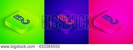 Isometric Line Spring Scale Icon Isolated On Green, Blue And Pink Background. Balance For Weighing.