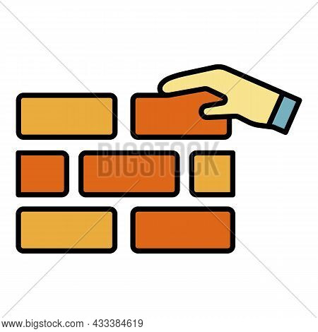 Put On Wall Brick Icon. Outline Put On Wall Brick Vector Icon Color Flat Isolated