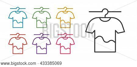 Set Line Drying Clothes Icon Isolated On White Background. Clean Shirt. Wash Clothes On A Rope With