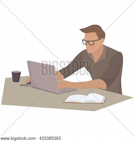 A Man In Glasses Sits At A Table With A Laptop. Work Environment Illustration. Live Isometry. Vector