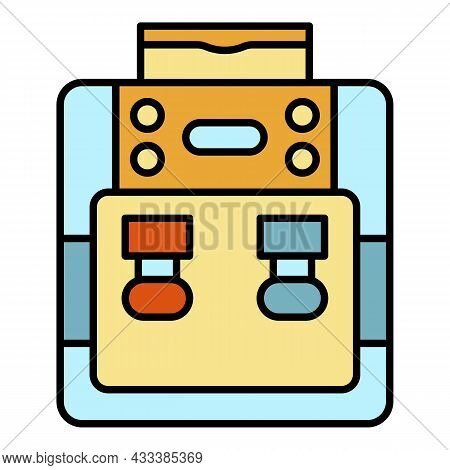 Purified Water Cooler Icon. Outline Purified Water Cooler Vector Icon Color Flat Isolated