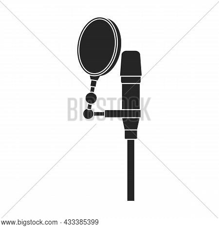 Microphone Music Vector Black Icon. Vector Illustration Mic Radio On White Background. Isolated Blac