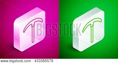 Isometric Line Pickaxe Icon Isolated On Pink And Green Background. Silver Square Button. Vector