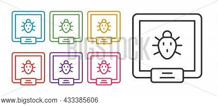 Set Line Colorado Beetle Icon Isolated On White Background. Set Icons Colorful. Vector