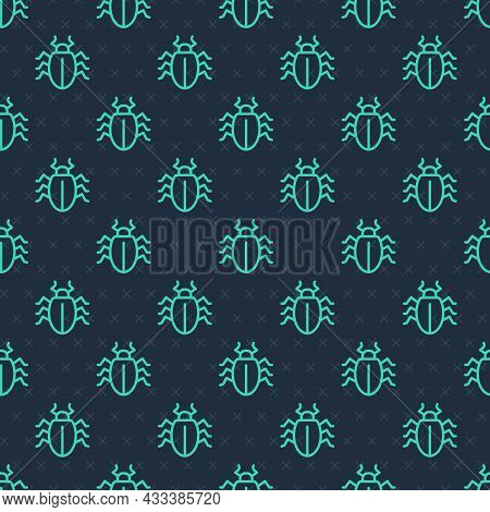 Green Line Colorado Beetle Icon Isolated Seamless Pattern On Blue Background. Vector