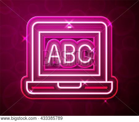 Glowing Neon Line Laptop Icon Isolated On Red Background. Computer Notebook With Empty Screen Sign.
