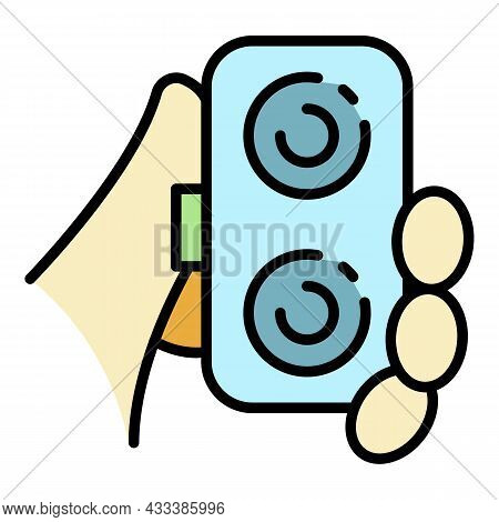 Contact Lens Box Icon. Outline Contact Lens Box Vector Icon Color Flat Isolated
