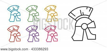 Set Line Roman Army Helmet Icon Isolated On White Background. Set Icons Colorful. Vector