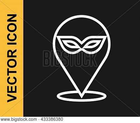 White Line Carnival Mask Icon Isolated On Black Background. Masquerade Party Mask. Vector