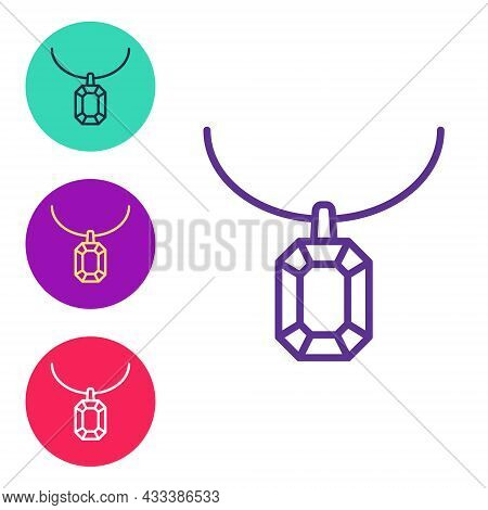 Set Line Pendant On Necklace Icon Isolated On White Background. Set Icons Colorful. Vector