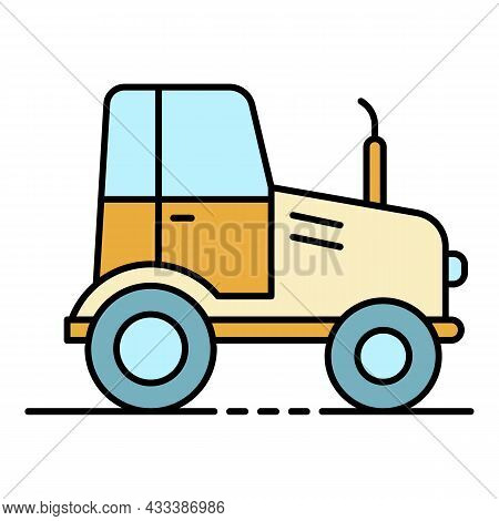 Farm Tractor Icon. Outline Farm Tractor Vector Icon Color Flat Isolated