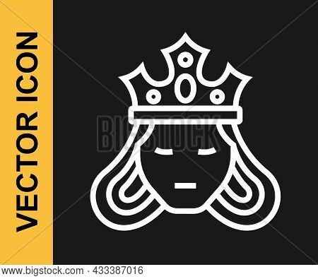 White Line Princess Or Queen Wearing Her Crown Icon Isolated On Black Background. Medieval Lady. Vec