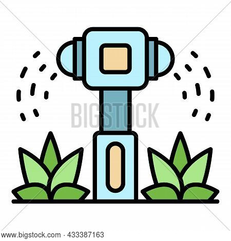 Irrigation Sprinkler Icon. Outline Irrigation Sprinkler Vector Icon Color Flat Isolated