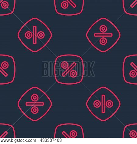 Red Line Discount Percent Tag Icon Isolated Seamless Pattern On Black Background. Shopping Tag Sign.