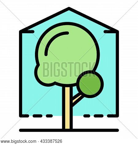 Greenhouse Icon. Outline Greenhouse Vector Icon Color Flat Isolated