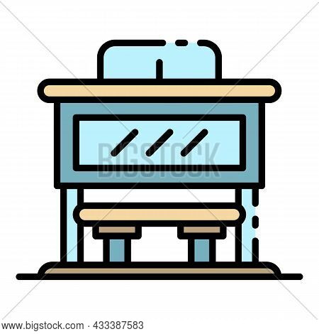 City Bus Station Icon. Outline City Bus Station Vector Icon Color Flat Isolated