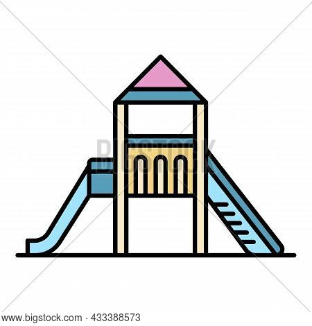 Home Kid Slide Icon. Outline Home Kid Slide Vector Icon Color Flat Isolated