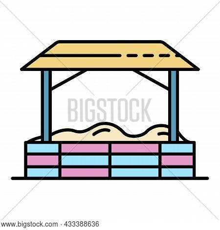 Kid Playground Tent Icon. Outline Kid Playground Tent Vector Icon Color Flat Isolated