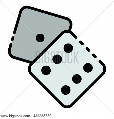 Dice One Six Face Icon. Outline Dice One Six Face Vector Icon Color Flat Isolated