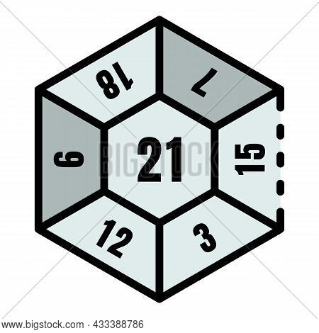 Play Number Dice Icon. Outline Play Number Dice Vector Icon Color Flat Isolated